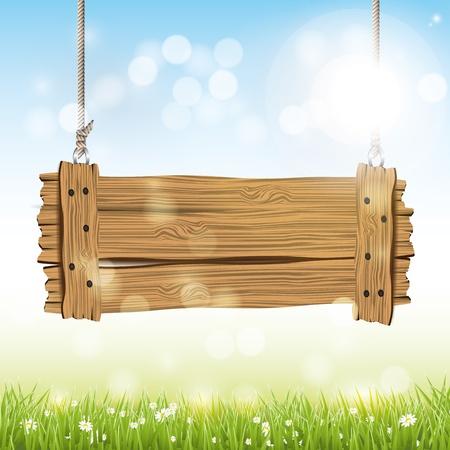 Spring background avec panneau en bois