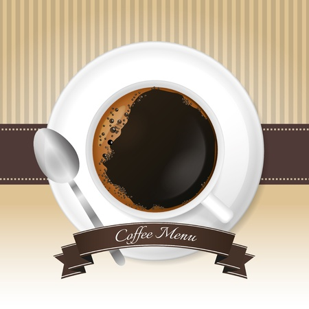 Coffee menu background with cup and brown ribbon on stripped background Vector