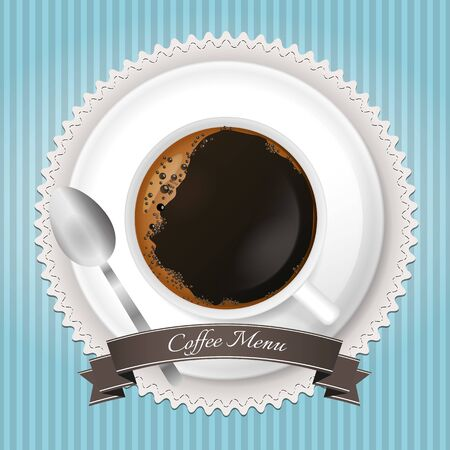 Coffee menu background with cup and brown ribbon on blue background Vector