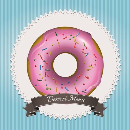 donut shop: Sweet dessert menu design with pink donut and brown ribbon
