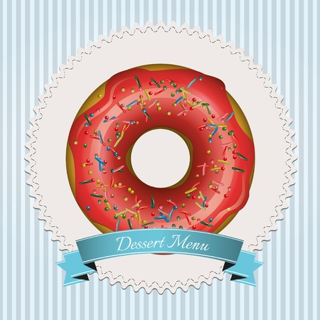 Dessert menu design with red donut and blue ribbon Stock Vector - 17676097
