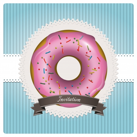 hapiness: Sweet card with pink donut on blue background