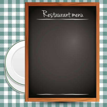 Empty blackboard - green restaurant menu background Stock Vector - 17676103