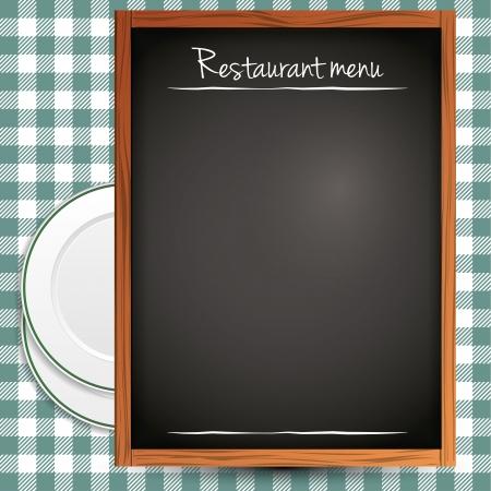 caterer: Empty blackboard - green restaurant menu background