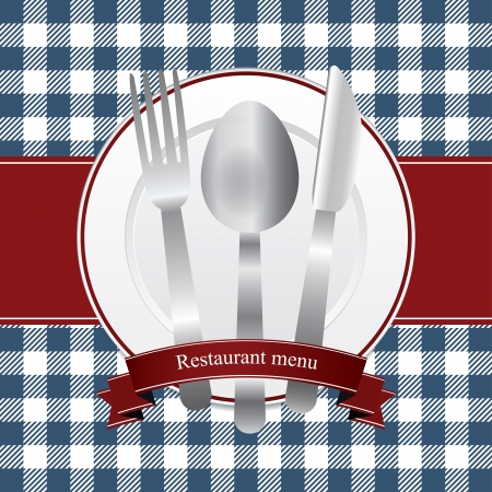 caterer: Classical red and blue restaurant menu design with plate and cutlery
