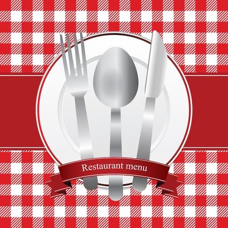 Clásico restaurante rojo diseño del menú con plato y cubiertos