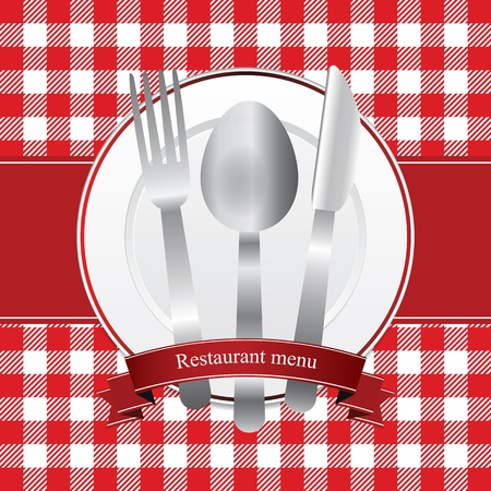diner: Classical red restaurant menu design with plate and cutlery Illustration
