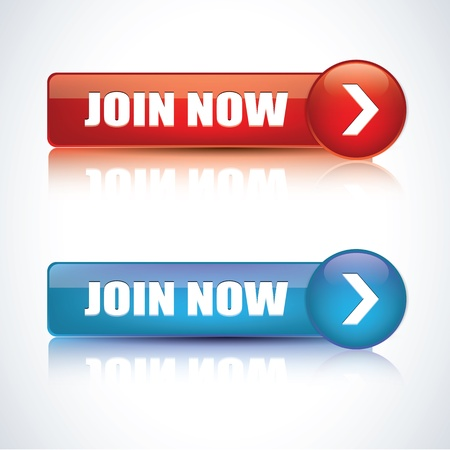 join now: Join now - realistic glossy icons