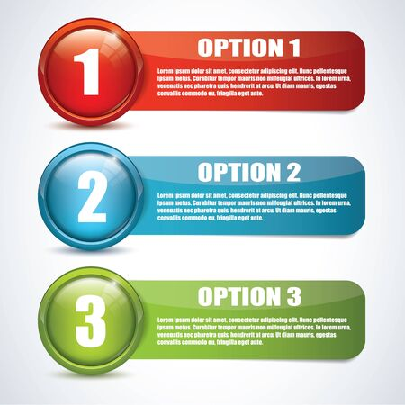 One, two, three - glossy options Vector