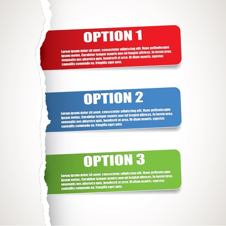 Set of three paper options Vector
