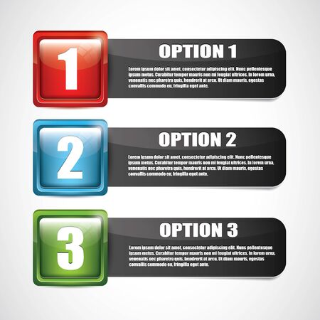 Vector glossy options with text on dark background Stock Vector - 17676131