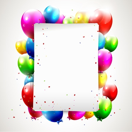 Modern birthday background with colorful balloons and copyspace Stock Vector - 17960803