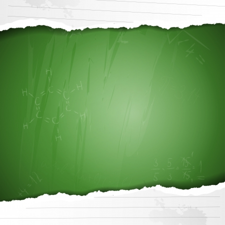 Background with green blackboard, ripped paper and copyspace Vector