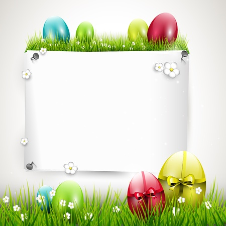 Sweet Easter background with colorful eggs and empty paper Vector