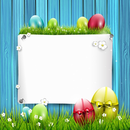 Easter greeting card with colorful eggs and empty paper on wooden background Stock Vector - 17960858