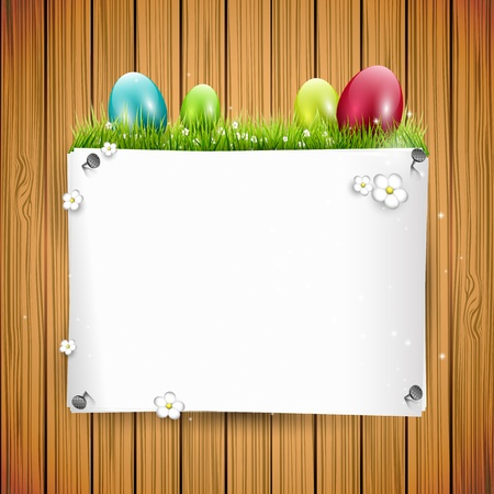 Easter background with colorful eggs and empty paper Vector