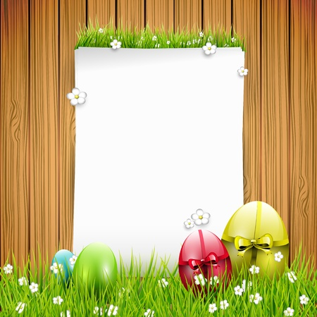 Easter greeting card with colorful eggs and empty paper on wooden background