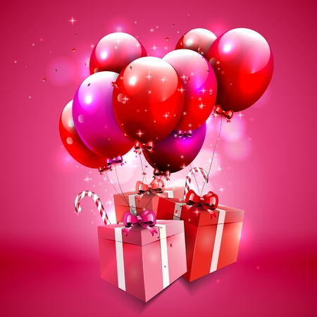 Sweet pink background with gift boxes and balloons