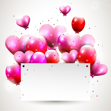 l red: Modern background with pink flying hearts nad balloons