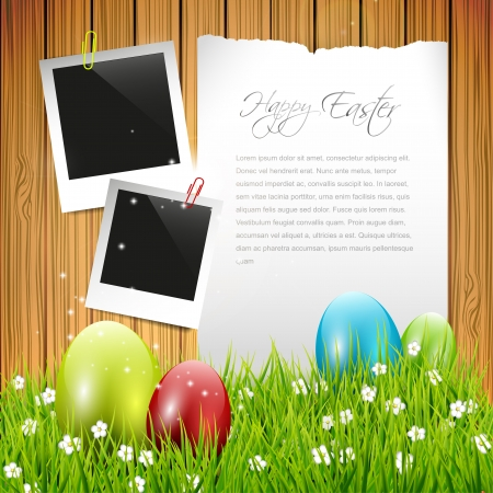 lensflare: Easter greeting card with colorful eggs and empty paper on wooden background