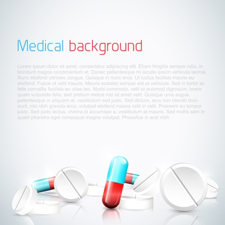 Modern medical background with pills and copyspace