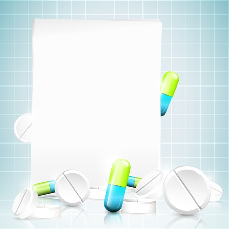 Modern medical background with pills and place for your text Illustration