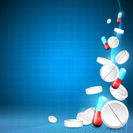 Blue medical background with pills and place for your text Vector