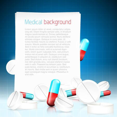 group therapy: Modern blue medical background with pills and paper with copyspace