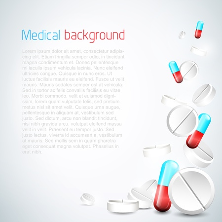 Abstract medical background with flying pills Stock Vector - 17960862