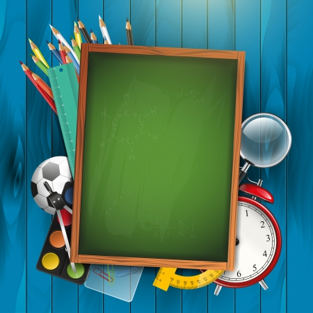 education background: School supplies and empty green chalkboard