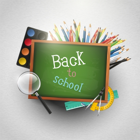 Green chalkboard with school supplies - back to school concept Vector