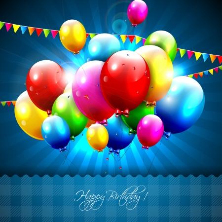 青色の背景にカラフルな誕生日用風船