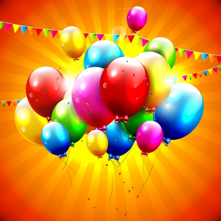 balloons party: Flying colorful balloons on orange background Illustration