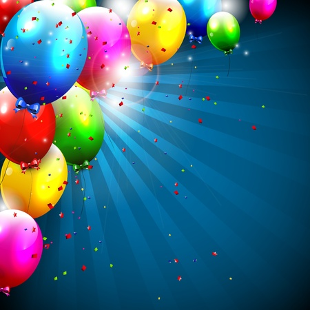 Colorful birthday balloons - background with copyspace Vector