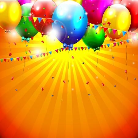 축하: 오렌지 배경에 다채로운 풍선 비행