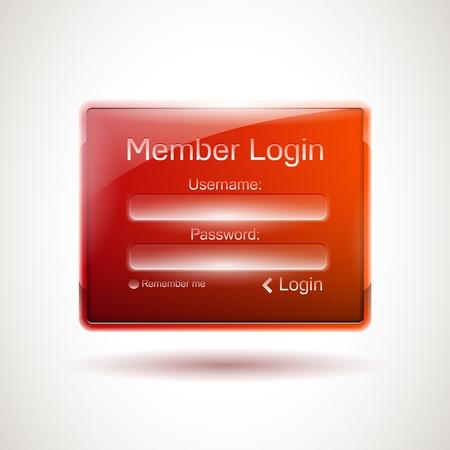 secure site: Realistic glossy login window Illustration
