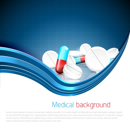 drugs pills: Blue medical background with spilled pills and tablets and copyspace Illustration