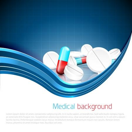 Fond bleu de médecin avec des pilules et des comprimés renversés et copyspace Vecteurs