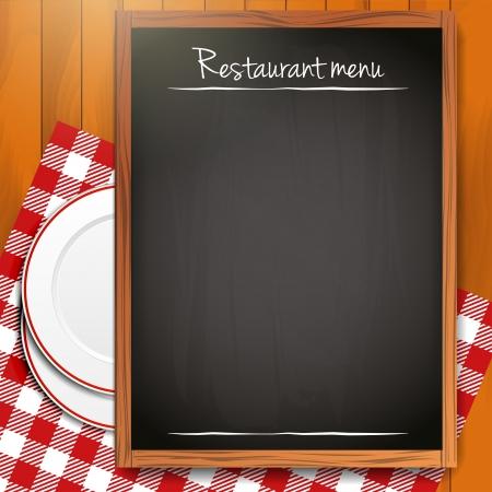 Blackboard with copyspace on wooden background Stock Vector - 18412834