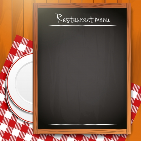 caterer: Blackboard with copyspace on wooden background