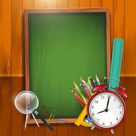 School background with empty chalkboard Vector