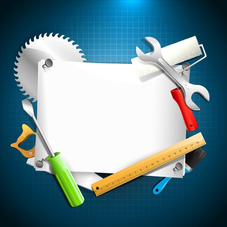 Tools and empty paper - Carpentry background   Vector