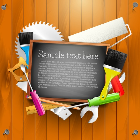 Hand tools and empty chalkboard - Carpentry background