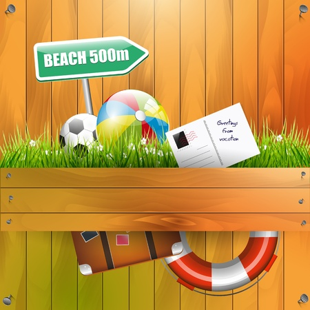 Summer composition on wooden background Vector