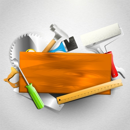 Construction tools - Carpentry background with copyspace Vector
