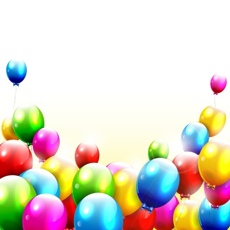 globos de cumplea�os: Modernos globos de cumplea�os en el fondo blanco
