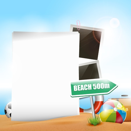 Summer holiday - background with empty paper Stock Vector - 18587266