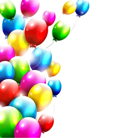 Modern birthday balloons on white background