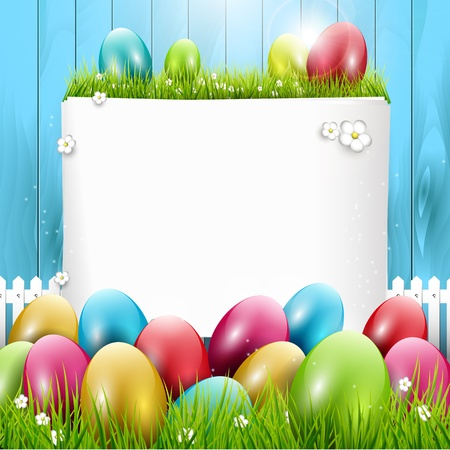 colored eggs: Easter greeting card with colorful eggs on wooden background