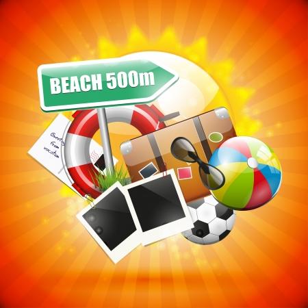 Summer holiday orange poster Stock Vector - 18587177